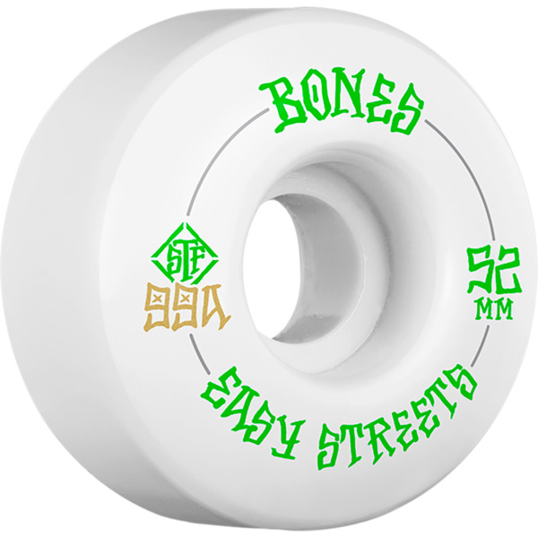 Bones Wheels STF V1 Easy Streets White / Green Skateboard Wheels - 52mm 99a (Set of 4)