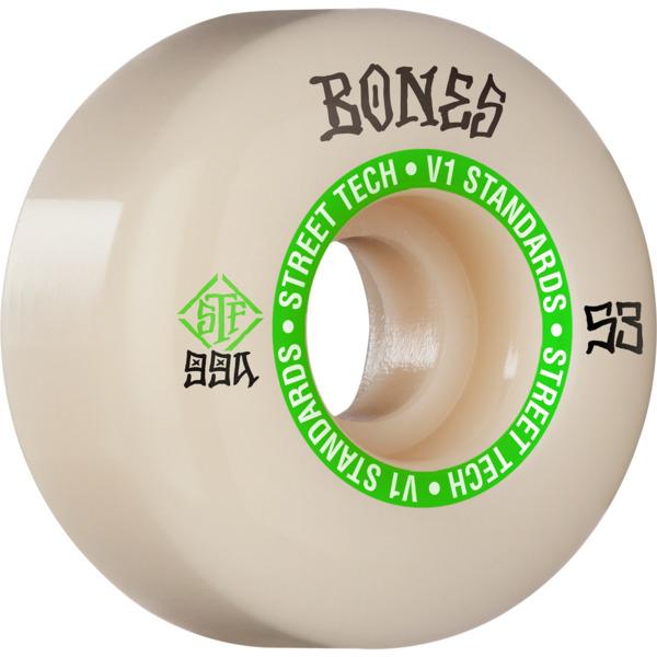 Bones Wheels STF V1 Ninety-Nines White / Green Skateboard Wheels - 53mm 99a (Set of 4)