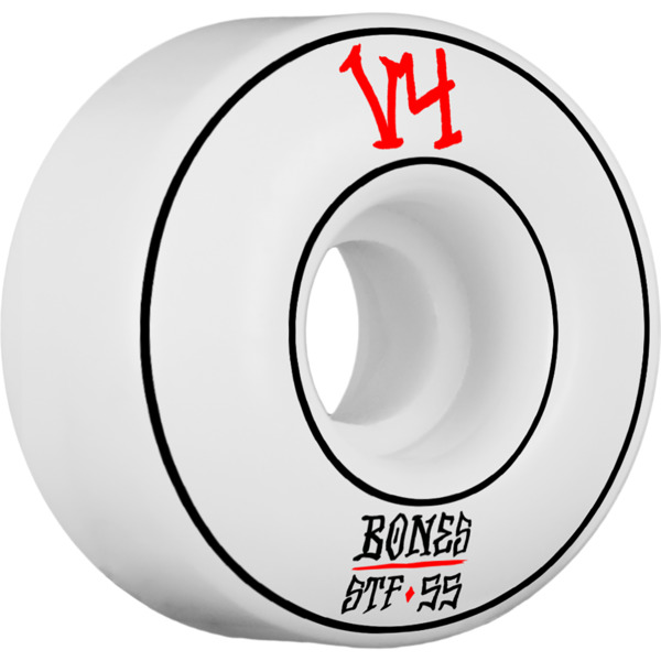 Bones Wheels STF V4 Annuals Pin Wide White Skateboard Wheels - 55mm 83b (Set of 4)