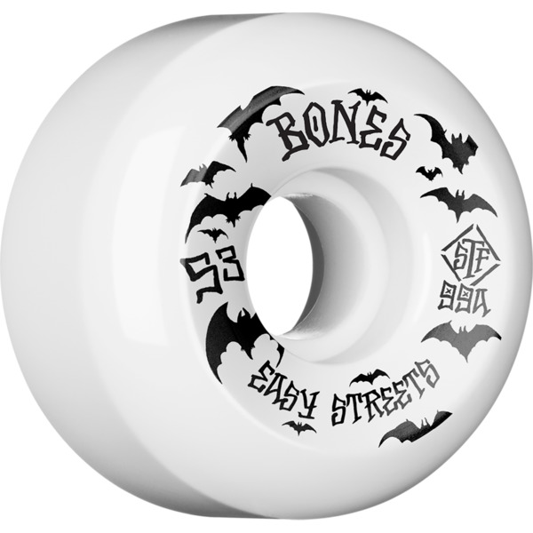 Bones Wheels STF Bats Easy Streets V5 Sidecuts White Skateboard Wheels - 53mm 99a (Set of 4)