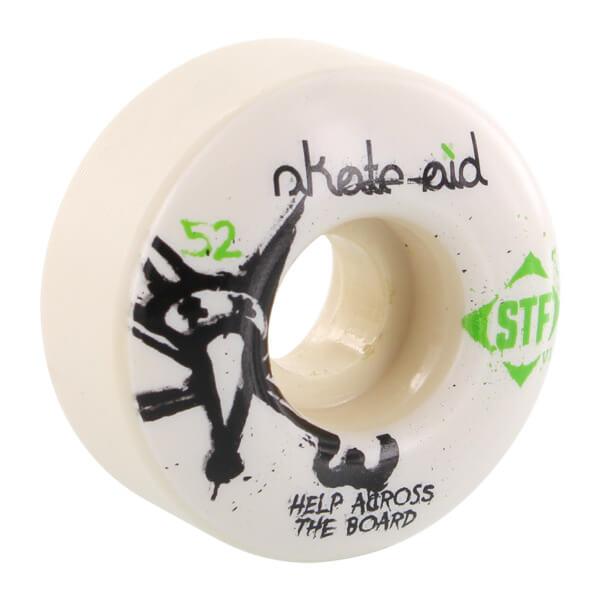 Bones Wheels STF Skate Aid White / Green Skateboard Wheels - 52mm 83b (Set of 4)