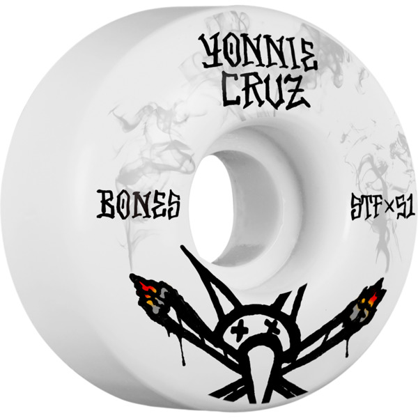 Bones Wheels Yonnie Cruz Pro STF Vato Joint V2 White / Black Skateboard Wheels - 51mm 103a (Set of 4)