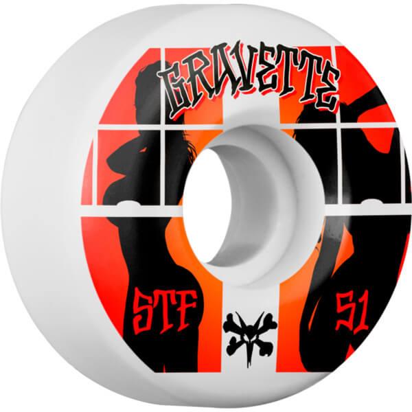 Bones Wheels David Gravette Pro STF Peeps White / Red / Black Skateboard Wheels - 51mm 103a (Set of 4)
