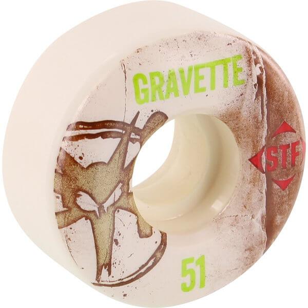 Bones Wheels David Gravette Pro STF Vintage White Skateboard Wheels - 51mm 83b (Set of 4)