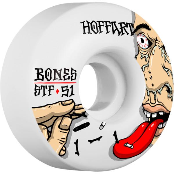 Bones Wheels Jordan Hoffart Pro STF Addicted White Skateboard Wheels - 51mm 103a (Set of 4)
