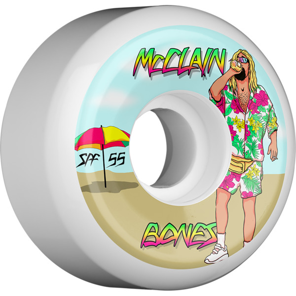 Bones Wheels Brad McClain Pro SPF Beach Bum White Skateboard Wheels - 55mm 104a (Set of 4)