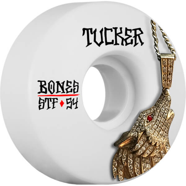 Bones Wheels Nick Tucker STF Wolf Chain White Skateboard Wheels - 54mm 83b (Set of 4)