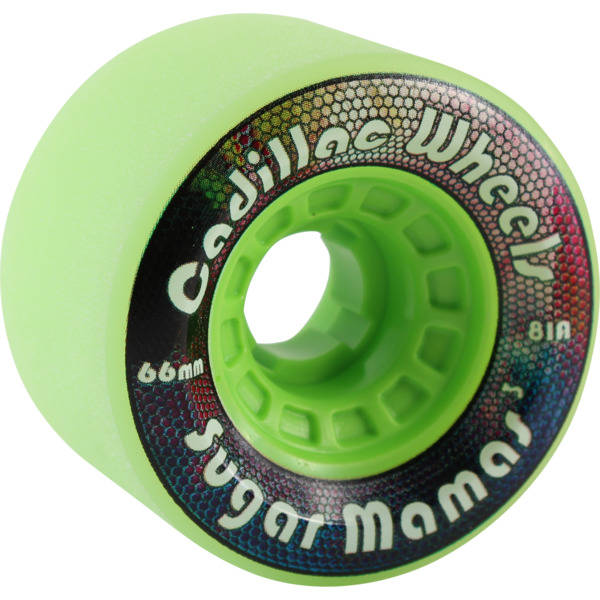 Cadillac Wheels Sugar Mamas Lime Skateboard Wheels - 66mm 81a (Set of 4)