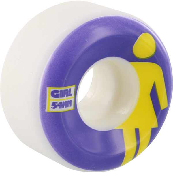 Girl Skateboards Classic OG Conical White / Purple / Yellow Skateboard Wheels - 54mm 99a (Set of 4)