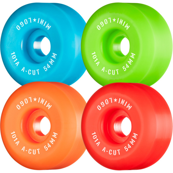Mini Logo A-Cut Green / Red / Blue / Orange Skateboard Wheels - 54mm 101a (Set of 4)