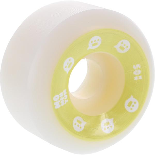 Momentum Wheels V2 Spiral White / Yellow Skateboard Wheels - 50mm 101a (Set of 4)
