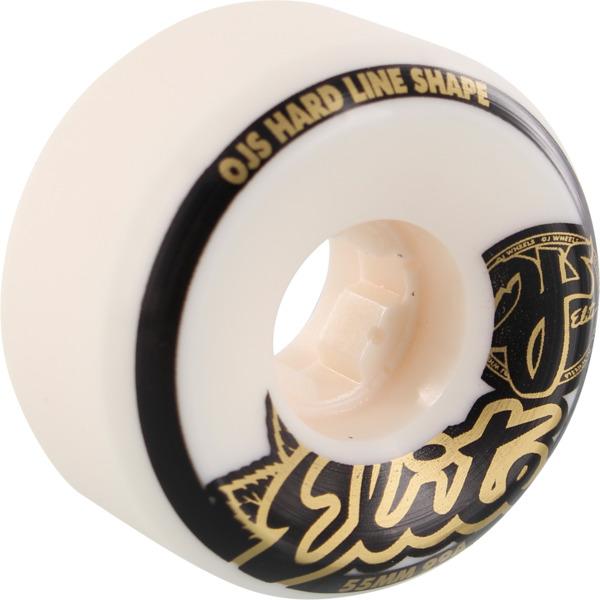 OJ Wheels Elite Hardline White w/ Gold / Black Skateboard Wheels - 55mm 99a (Set of 4)