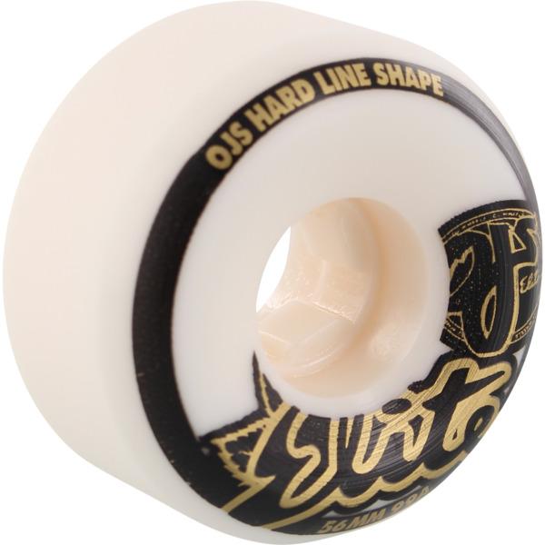 OJ Wheels Elite Hardline White w/ Gold / Black Skateboard Wheels - 56mm 99a (Set of 4)