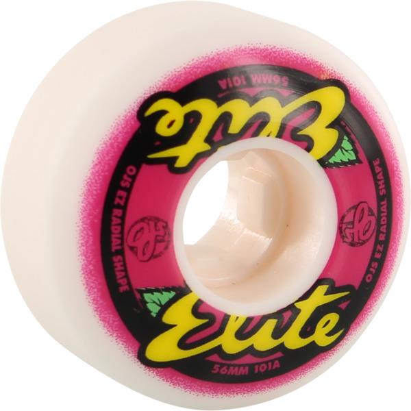 OJ Wheels Elite EZ Edge White / Pink Skateboard Wheels - 56mm 101a (Set of 4)