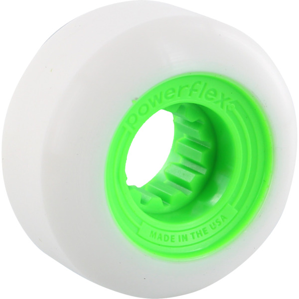 Powerflex Skateboards Gumball White / Lime Skateboard Wheels - 60mm 83b (Set of 4)