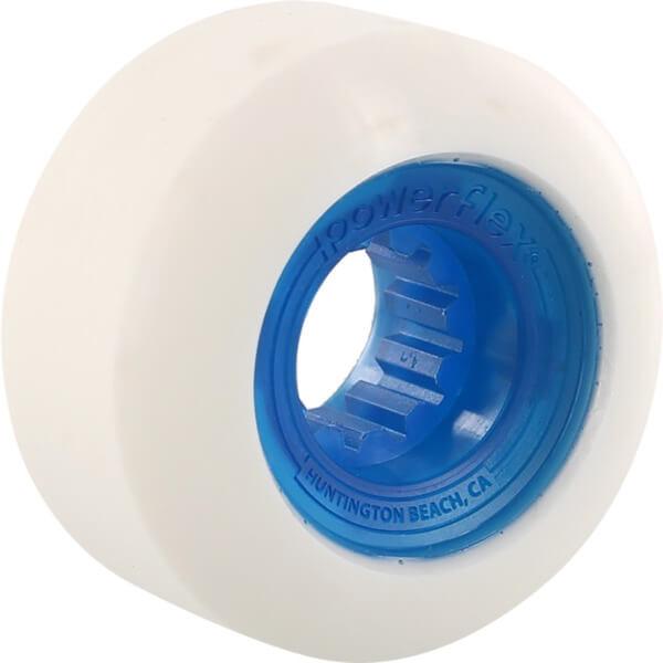 Powerflex Skateboards Rock Candy White / Clear Blue Skateboard Wheels - 56mm 84b (Set of 4)