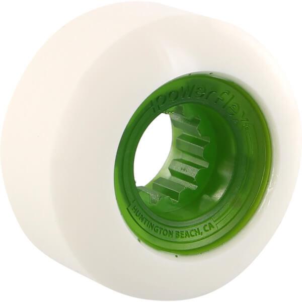 Powerflex Skateboards Rock Candy White / Clear Green Skateboard Wheels - 56mm 84b (Set of 4)