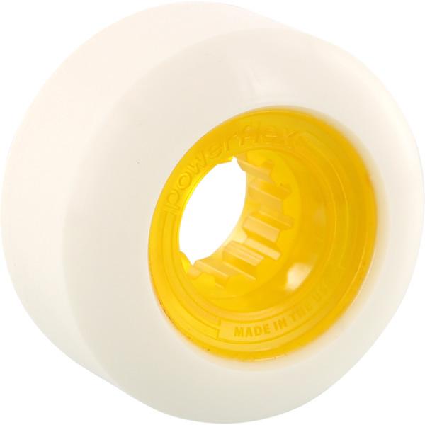 Powerflex Skateboards Rock Candy White / Clear Yellow Skateboard Wheels - 56mm 84b (Set of 4)