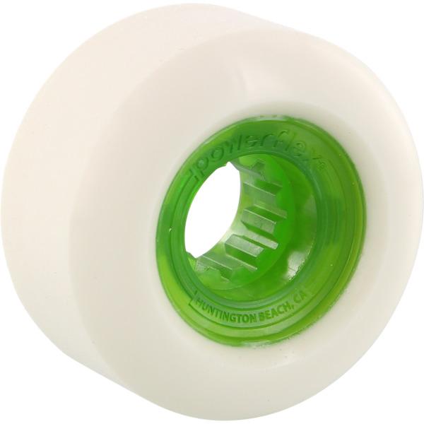 Powerflex Skateboards Rock Candy White / Clear Green Skateboard Wheels - 60mm 84b (Set of 4)
