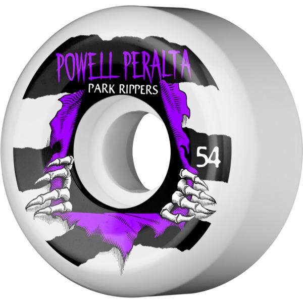 Powell Peralta Park Ripper II White / Purple Skateboard Wheels - 54mm 104a (Set of 4)