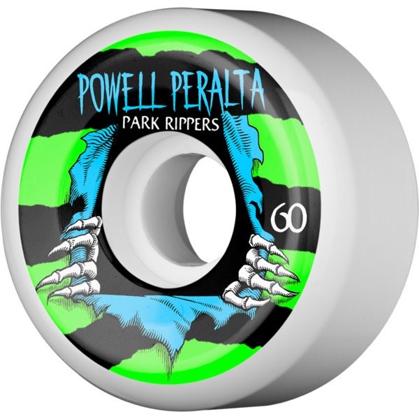 Powell Peralta Park Ripper II White / Green / Blue Skateboard Wheels - 60mm 97a (Set of 4)