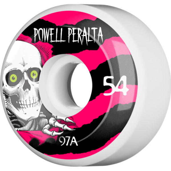 Powell Peralta Ripper White / Black / Red Skateboard Wheels - 54mm 97a (Set of 4)