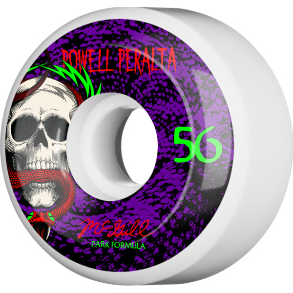 Powell Peralta Mike McGill Skull and Snake White / Purple Skateboard Wheels - 56mm 103a (Set of 4)