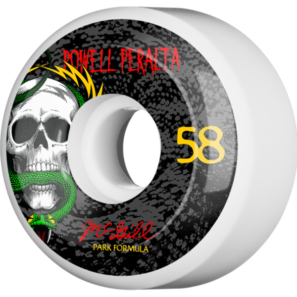 Powell Peralta Mike McGill Skull and Snake White / Black Skateboard Wheels - 58mm 103a (Set of 4)