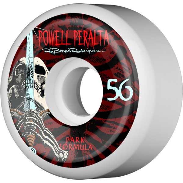 Powell Peralta Ray Rodriguez Skull & Sword White Skateboard Wheels - Park Formula - 56mm 103a (Set of 4)