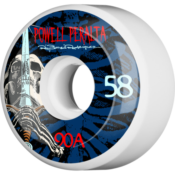 Powell Peralta Ray Rodriguez Skull & Sword White Skateboard Wheels - 58mm 90a (Set of 4)