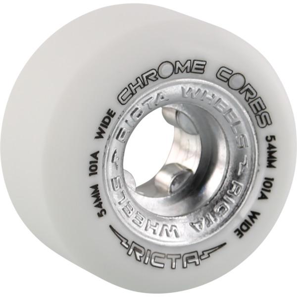 Ricta Wheels Chrome Core Wide White / Silver Skateboard Wheels - 54mm 101a (Set of 4)