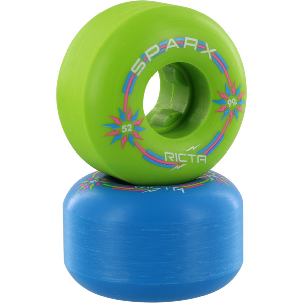 Ricta Wheels Sparx Mix Blue / Green Skateboard Wheels - 52mm 99a (Set of 4)