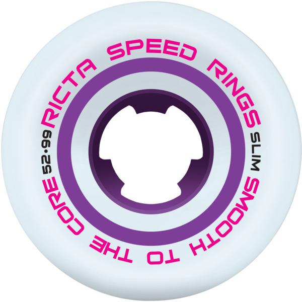 Ricta Wheels Speedrings Slim White Skateboard Wheels - 52mm 99a (Set of 4)