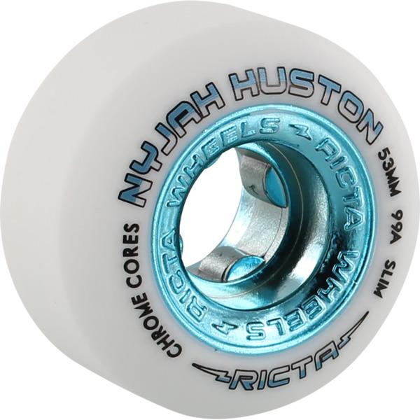 Ricta Wheels Nyjah Huston Chrome Core Slim White / Teal Skateboard Wheels - 53mm 99a (Set of 4)