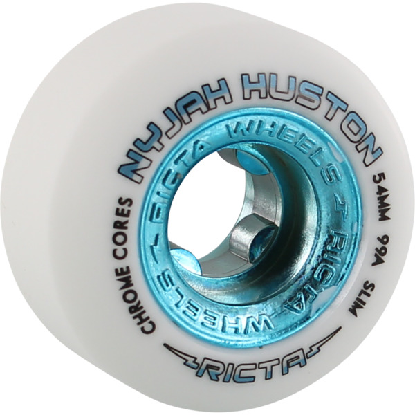 Ricta Wheels Nyjah Huston Chrome Core Slim White / Teal Skateboard Wheels - 54mm 99a (Set of 4)