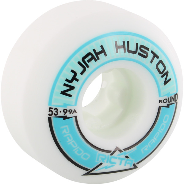 Ricta Wheels Nyjah Huston Pro Rapido Round White Skateboard Wheels - 53mm 99a (Set of 4)