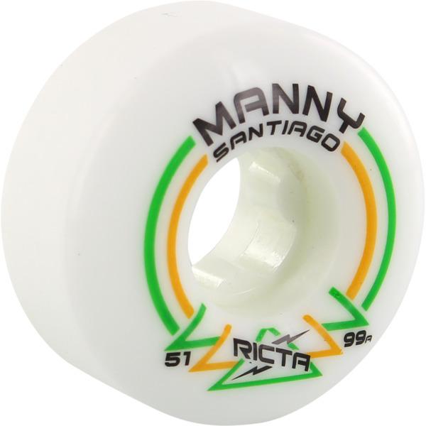 Ricta Wheels Manny Santiago Pro Rapido Slim White Skateboard Wheels - 51mm 99a (Set of 4)