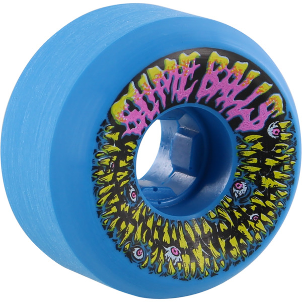 Santa Cruz Skateboards Slimeballs Munchers Neon Blue Skateboard Wheels - 56mm 97a (Set of 4)