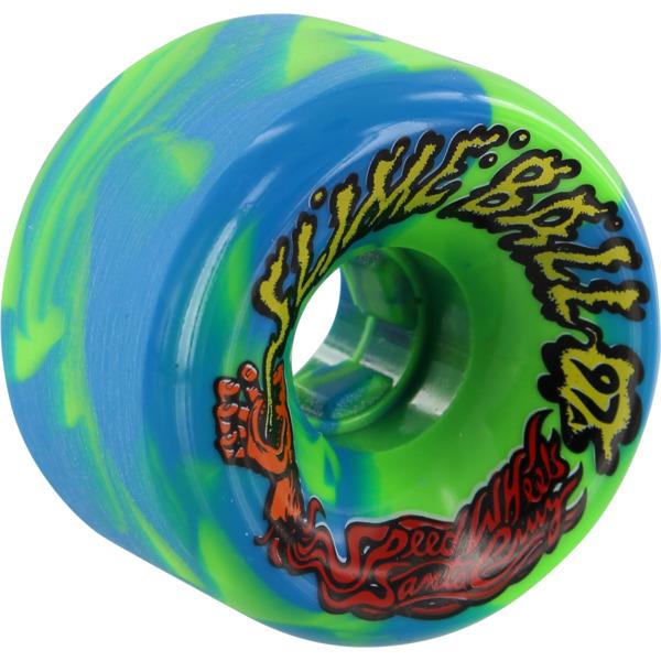 Santa Cruz Skateboards Slimeballs Vomits Blue / Green Swirl Skateboard Wheels - 60mm 97a (Set of 4)