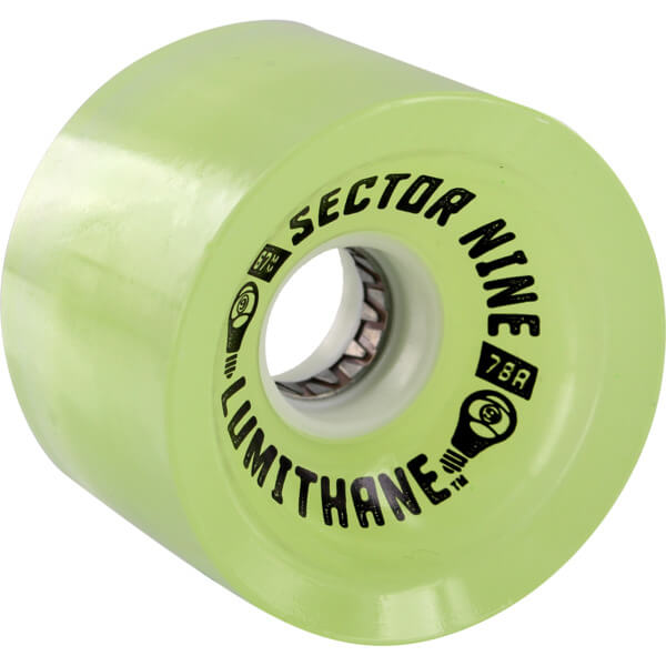 Sector 9 Lumithane Glow / LED Green Light Up Longboard Wheels - 67mm 78a (Set of 4)