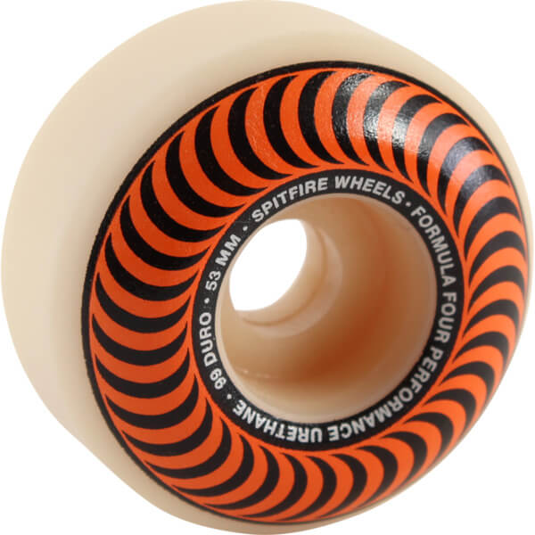 Spitfire Wheels Formula Four Classic Swirl White w/ Orange Skateboard Wheels - 53mm 99a (Set of 4)