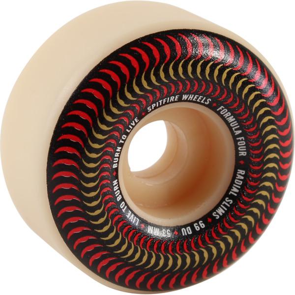 Spitfire Wheels Formula Four Radial Slim Venomous Natural / Red Skateboard Wheels - 53mm 99a (Set of 4)