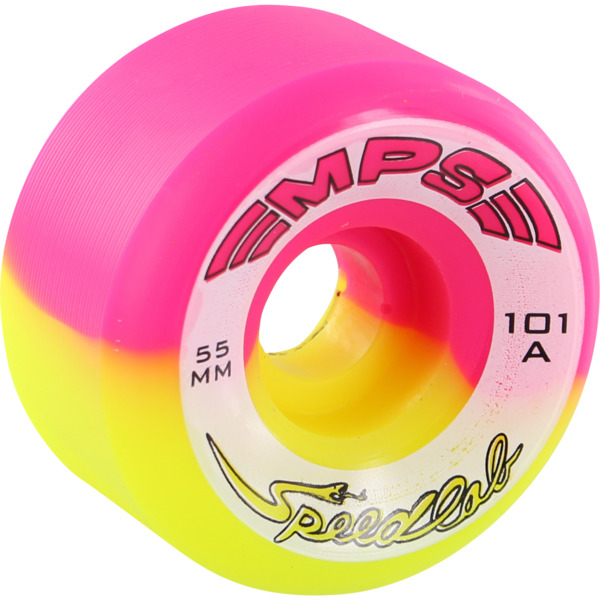 Speedlab Wheels MPS Special Edition Pink / Yellow Split Skateboard Wheels - 55mm 101a (Set of 4)