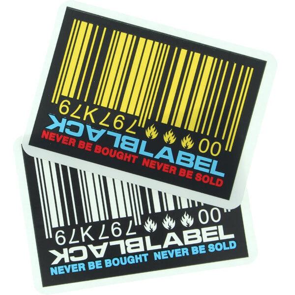 Black Label Skateboards Barcode Assorted Colors Skate Sticker