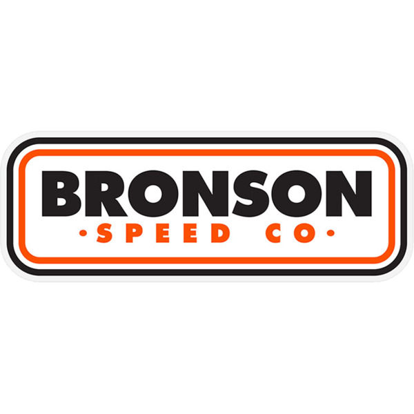 "Bronson Speed Co 1.5"" x 4.5"" Patch Logo White / Orange / Black Skate Sticker"