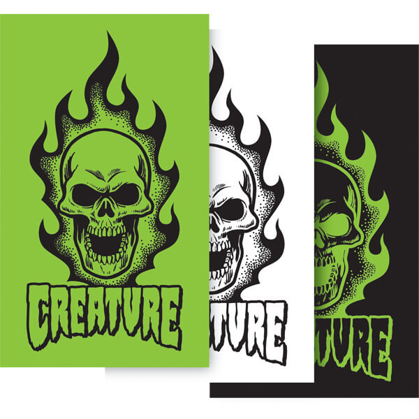 Creature skateboards bonehead skate sticker