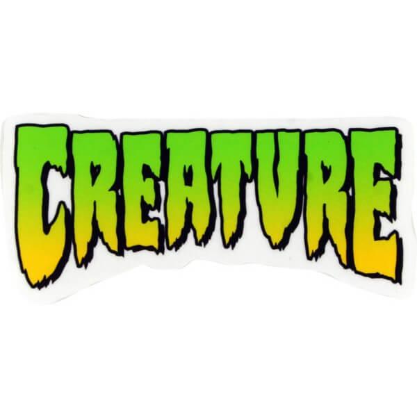 "Creature Skateboards 4"" X 2"" Logo Clear Green Yellow Skate Sticker"