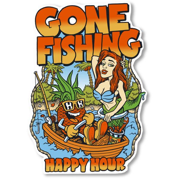 Happy Hour Skateboards Gone Fishing Large Skate Sticker