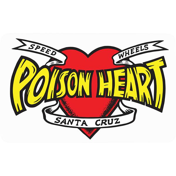 "Santa Cruz Skateboards 3.12""x 5"" Poison Heart Red / Yellow / Black Skate Sticker"