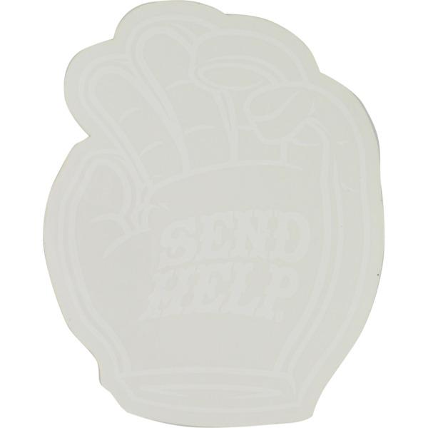 """Send Help Skateboards 4"""" Foam Hand Logo Clear Skate Sticker"""